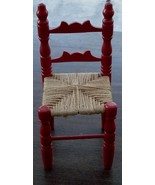 Nice Wooden Doll Chair, Hand Made Twine Seat, Bright Red, VG COND - SUPE... - $19.79