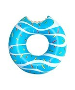 AIRTIME Inflatable Swim Ring Blue Glazed Donut W/ Bite Water Toy Floatie... - £14.10 GBP