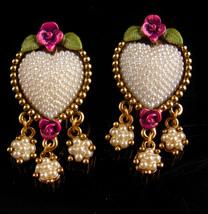 Vintage pearl Heart Earrings - clip on - pink roses - handpainted jewelr... - $65.00