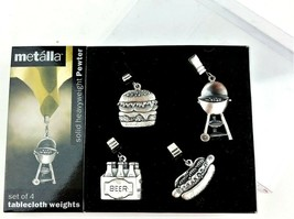 Metalla Tablecloth Weights Set of 4 Solid Heavyweight Pewter Clips BBQ S... - €16,52 EUR