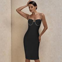 New Arrival Diamond Embellished Sexy Black Bandage Dress Bodycon Night Club Part