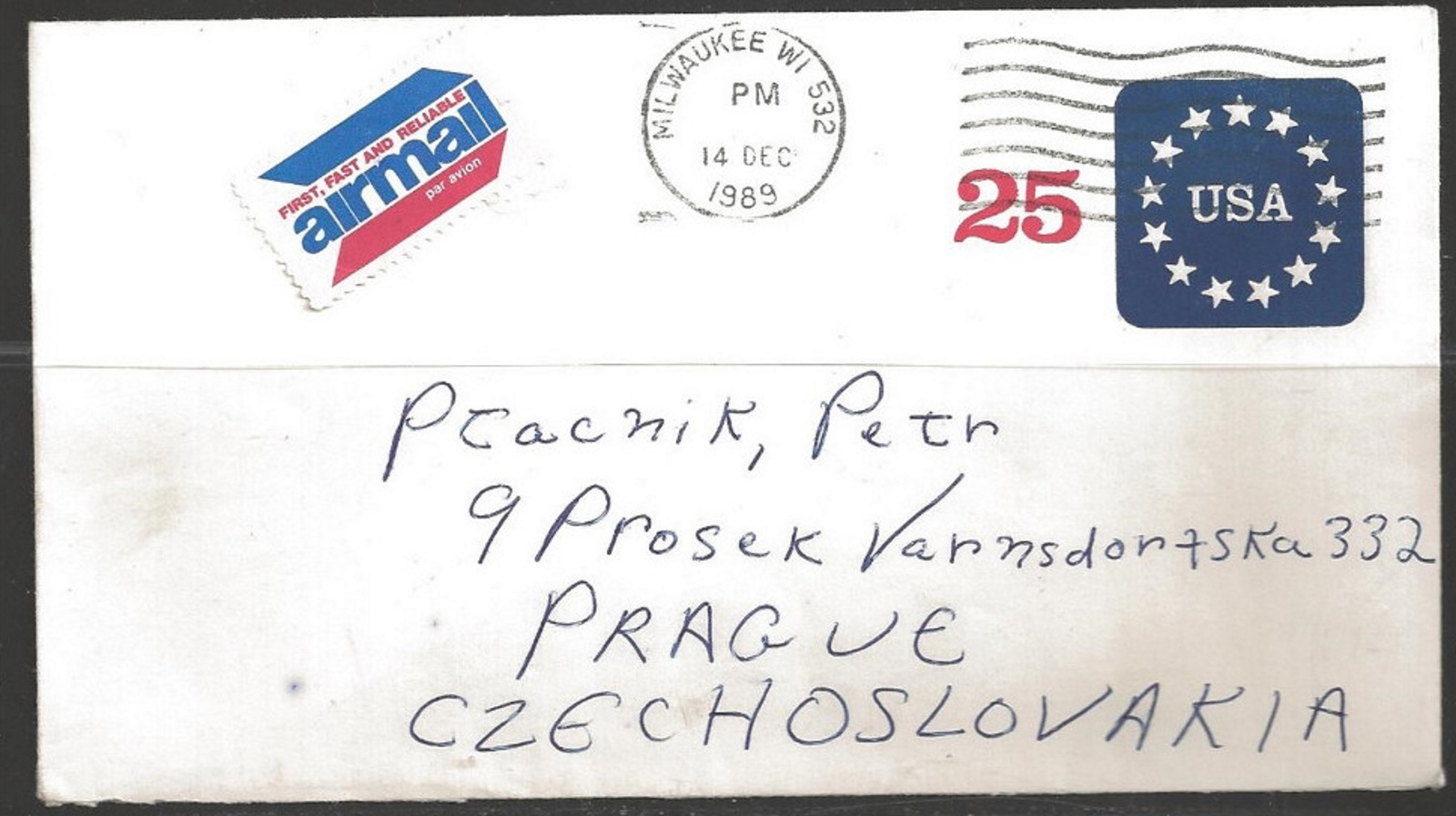 1989 25 cents USPS envelope mailed to Czechoslovakia without postage due