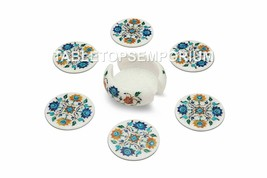 Round Marble White Coffee Tea Coaster Set Multi Inlay Floral Kitchen Dec... - $235.99
