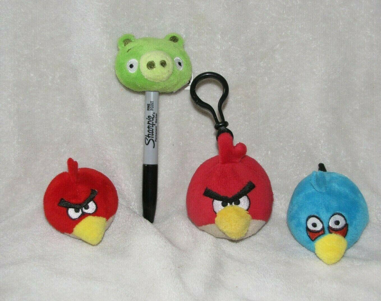Angry Birds Blue Bird Pencil Topper Plush Stuffed Finger Puppet Backpack Clip