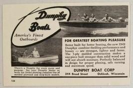 1949 Print Ad Dunphy Outboard Boats Oshkosh,WI - $9.03