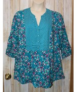 Womens Green Floral Woman Within 3/4 Sleeve Shirt Size L 18 20 NWT NEW - $14.84