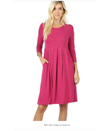 3/4 Sleeve Pleated Dress With Pockets With Plus Size Dark Red Medium (8... - $29.99