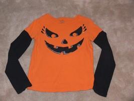 Halloween Shirt Orange & Black Jack o Lantern  Long Sleeve Girls Size 6X tb - $5.99