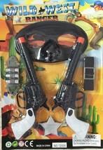 Western Ranger Twin Pistol With Mask & Shefiff Badge Set Play Toy Cowboy Gun New - $4.70