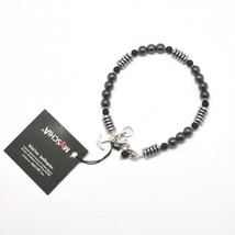 SILVER 925 BRACELET WITH ONYX AND HEMATITE BLE-1 MADE IN ITALY BY MASCHIA - $64.02