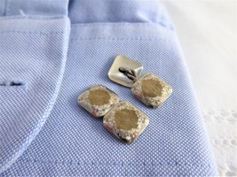 Edwardian Cufflinks Sterling Silver 10KT French Cuff Links Engraved Floral 10k - $68.00