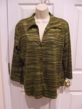 newport news/ jeanology camoflage green  3/4 sleeve top large - $3.95