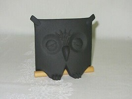 Vintage Owl on Perch Figurine Black Bisque Ceramic Square Artist Signed - $29.69