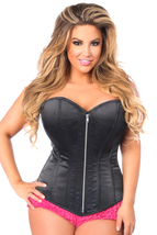 Daisy Corsets Top Drawer Black Satin Steel Boned Corset - All Sizes