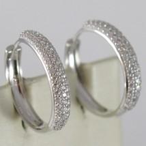 White Gold Earrings 750 18K Circle, Diameter 2 cm, Triple Row Zircon, 3 MM image 1