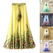 Women Summer Chiffon Long Skirt Floral Print Pleated Bohemian Beach Skirts