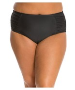 NEW Jessica Simpson Black Solid High Waist Shirred Swim Bottom Plus 3X - $28.70