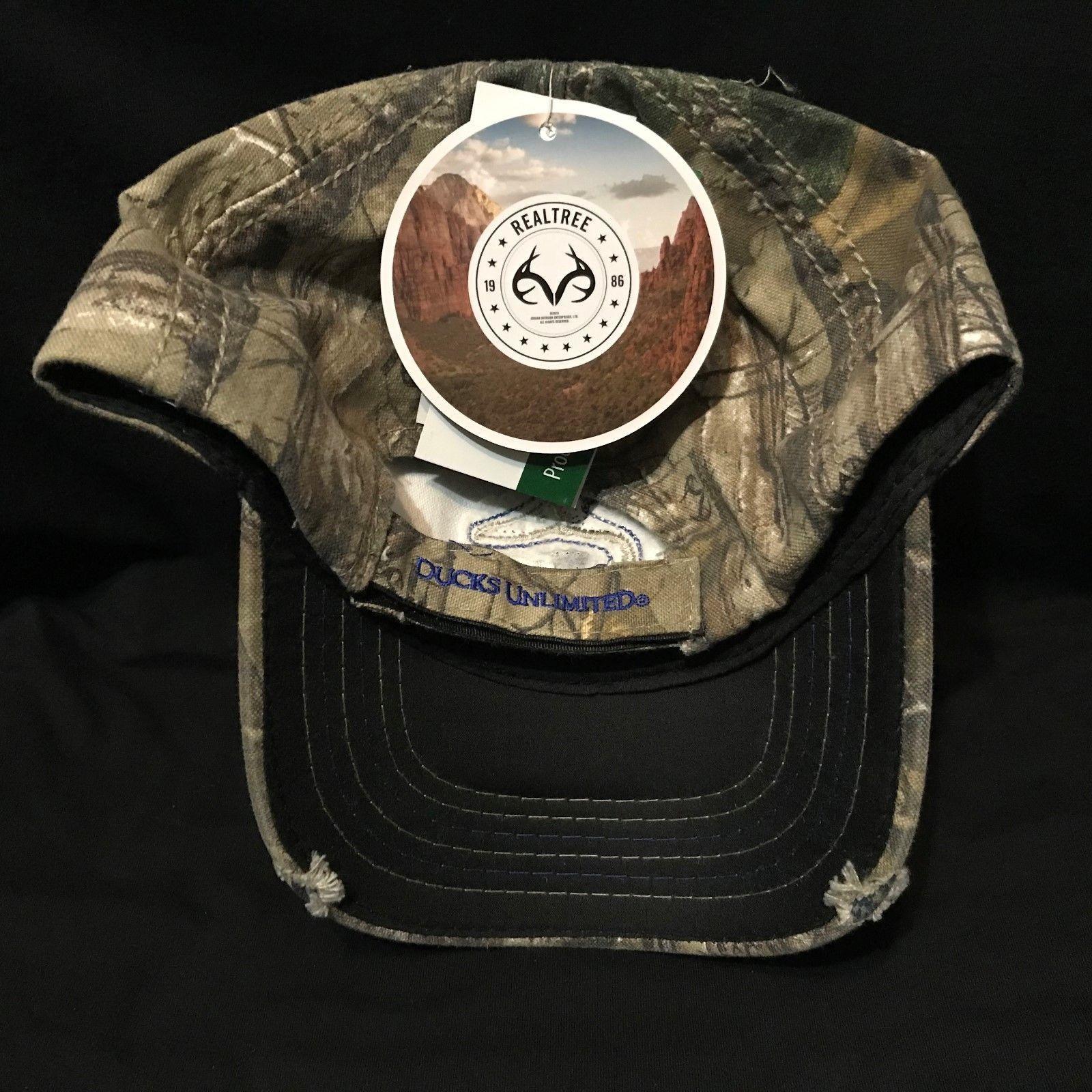 Ducks Unlimited Blue Logo Realtree Camo trucker baseball cap hat