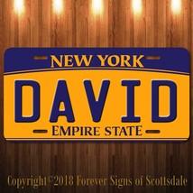 David New York Yellow Name License Plate Aluminum Vanity Tag - $16.82