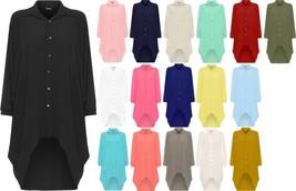 Womens Batwing Sleeve Dip Hem High Low Button Collar Shirt Dress Plus Size - $12.16 - $14.49