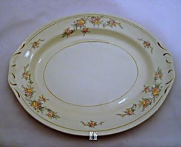 Homer Laughlin Pink and Yellow Floral Pattern Platter - $14.01