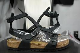 Birkenstock Chania Sandalias de Cuero 37 6/6.5 Estrecho Menta Negro Gladiador - $90.00