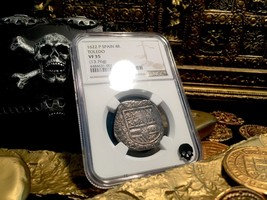 "SPAIN 4 REALES ""DATED 1622"" ATOCHA YEAR SILVER PIRATE COIN TREASURE DOUB... - $2,495.00"