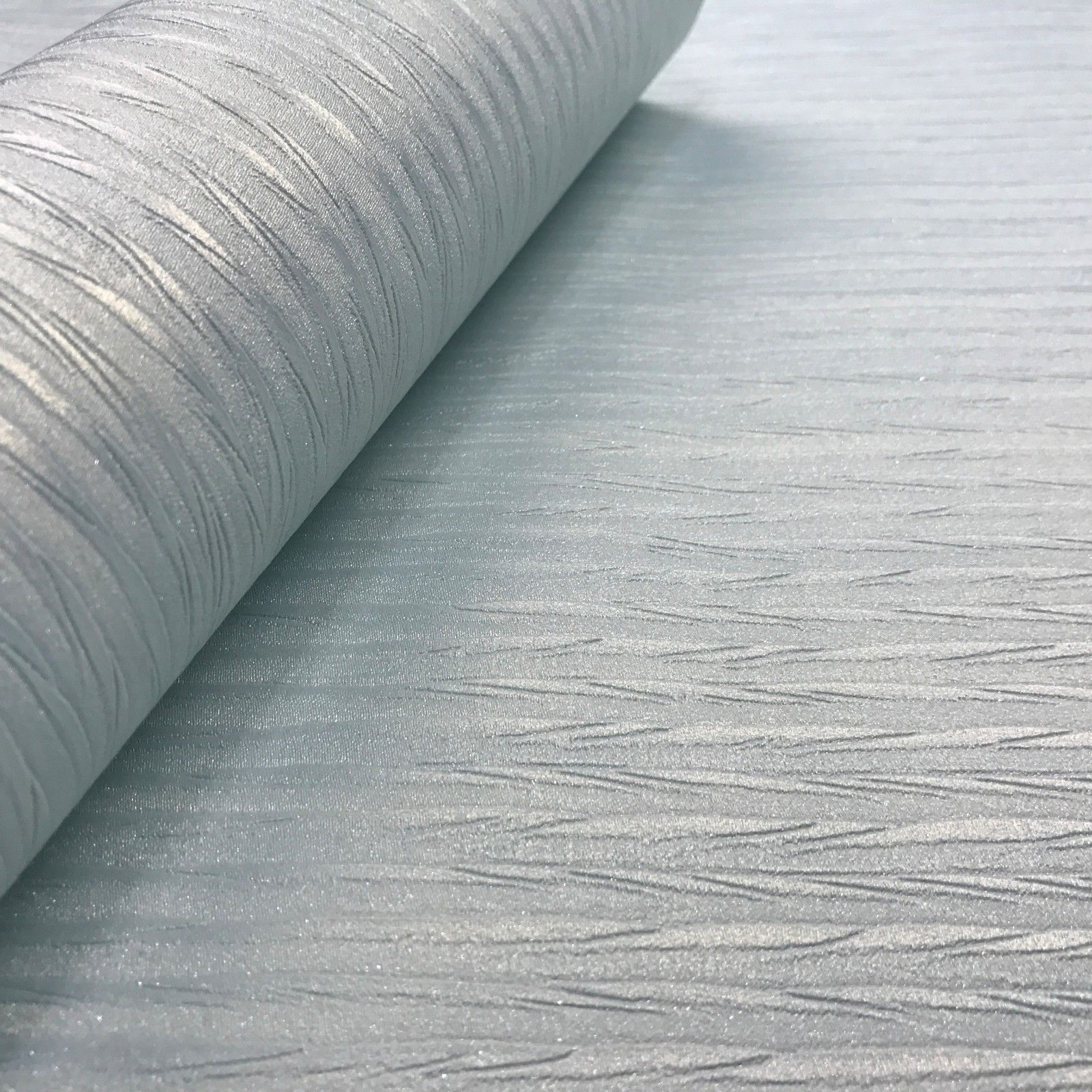 Wallpaper Blue Silver Metallic Textured Lines Modern Plain Wall Coverings