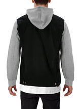 Men's Two Tone Jean And Grey Jersey with Removable Hood Denim Trucker Jacket image 12