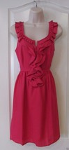 ELLE Raspberry Ruffle Smocked  Sleeveless Dress Women's Sz. XS NWT MSRP$... - $27.39