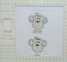 Grasslands Road 2 Piece Set Monkey Faces See Do Hat Bodysuit White 3 to 6 Months image 2