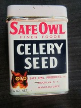 Safe Owl Brand Antique Advertising Spice Tin - Celery Seed - $14.99