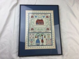"Cross Stitch Hand Embroidered ""God Bless Our Home"" Sampler Picture Framed - $32.71"