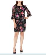 Sandra Darren Women's 3/4 Chiffon/Ity Puff Sheath Dress Black Multi Size... - $31.49