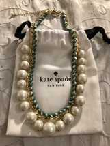 Kate Spade Pearly Pearl Bead Green Gingham Ribbon Woven Gold-tone Chain Necklace - $154.95