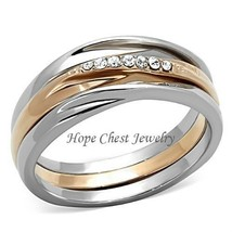 CLEARANCE--Rose Gold Tone Stainless Steel Top Grade Crystal 3 Ring Set S... - $15.50