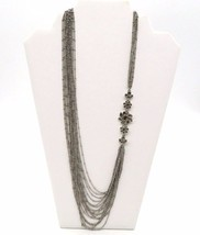 ANN TAYLOR Silver Flower Layered Long Chain Necklace - $31.99