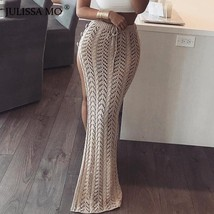 JULISSA MO Autumn Split Knitted Maxi Skirts Women Sexy Hollow Out Buttons Long  - $39.99+