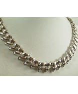 MONET Brushed SILVER Plated Link Necklace Choker Classic Vintage Estate ... - $22.72