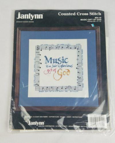 Vintage Janlynn Punto de Cruz Regalo de Música de Dios 64-10