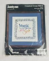 Vintage Janlynn Punto de Cruz Regalo de Música de Dios 64-10 - $7.91