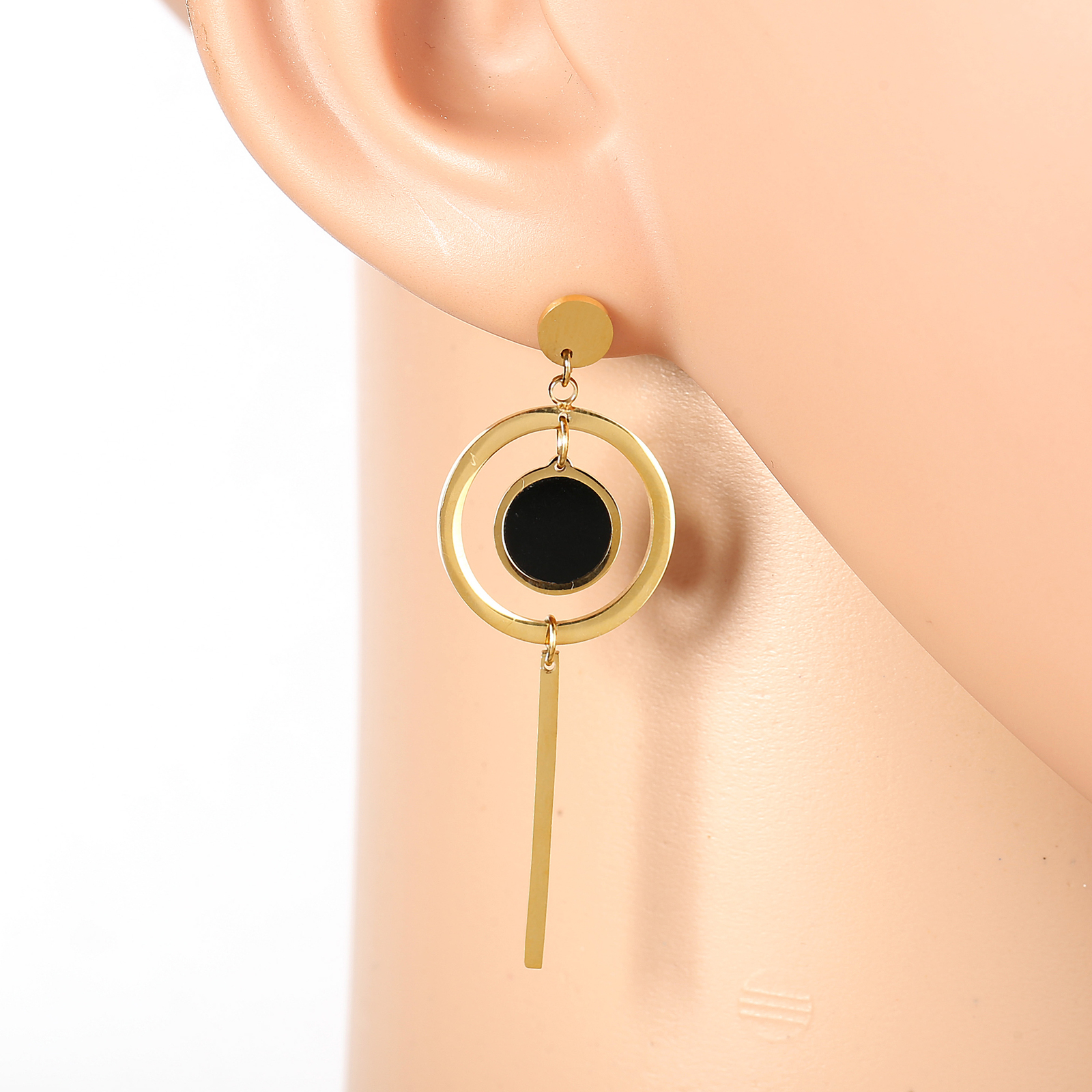 Primary image for Gold Tone Designer Drop Earrings, Jet Black Faux Onyx Circle & Dangling Bar