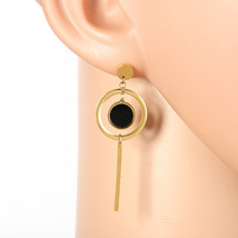 Gold Tone Designer Drop Earrings, Jet Black Faux Onyx Circle & Dangling Bar - $17.99