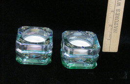 2 Party Lite Candle Holders Tea Lights Green Pi... - $12.86