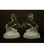 Matching Pair Cristal D'Arques Crystal Glass Rearing Horse Figurines - $26.99