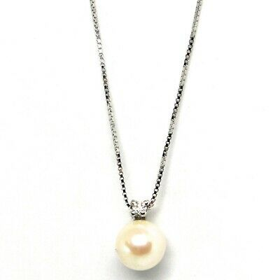 18K WHITE GOLD NECKLACE AKOYA PEARL 6.5 MM AND DIAMOND, PENDANT & VENETIAN CHAIN