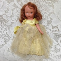 Vintage, 1930s 5.5in Nancy Ann Story Book Bisque Doll- Yellow Lace Gown - $23.70