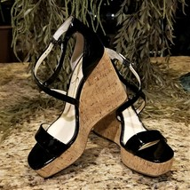 Jessica Simpson Stassi Black Patent Platform Wedge Sandals US Sz 7M - $39.95