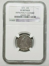 1875 VF Details Cleaned Silver Twenty 20 Cent Coin Lot A 137
