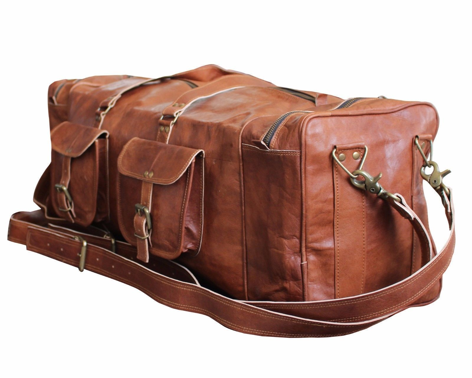 New Men Luggage Rustic Vintage Leather Travel Duffel Weekend Gym Overnight Bag